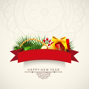 Greeting card design with glossy elegant ornaments and red ribbon on floral decorated background for Happy New Year celebration.