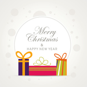 Colorful creative gifts decorated greeting card design for Merry Christmas and Happy New Year celebration.