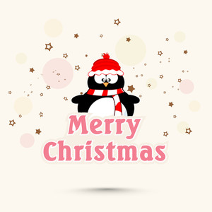 Stars decorated greeting card design with cute penguin for Merry Christmas celebration.