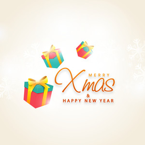 Colorful glossy gifts decorated greeting card design for Merry Christmas and Happy New Year celebration.