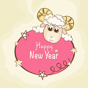 Stars decorated greeting card with cute sheep for Happy New Year celebration.