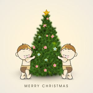 Cute little kids with colorful stars decorated Xmas Tree for Merry Christmas celebration.