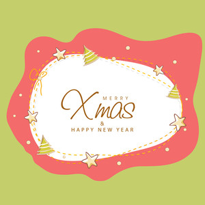 Creative Xmas Trees and stars decorated greeting card design for Merry Christmas and Happy New Year celebration.
