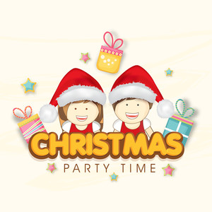 Cute kids wearing Santa cap on colorful gifts and stars decorated background for Christmas Party celebration.