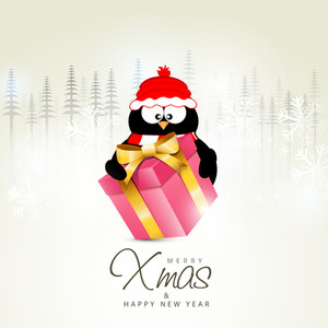Illustration of a cute penguin holding glossy pink gift on fir trees decorated background for Merry Christmas and Happy New Year celebration.
