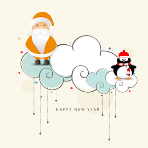 Cute Santa Claus with penguin on creative clouds for Happy New Year celebration.