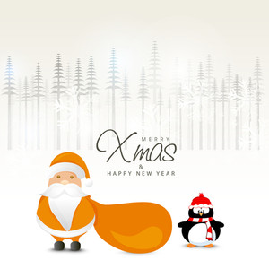 Cute Santa Claus holding gift sack with penguin on fir trees decorated background for Merry Christmas and Happy New Year celebration.