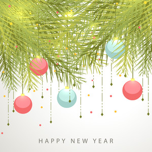 Happy New Year and Merry Christmas Celebrations concept with hanging christmas ball and fir leaves.