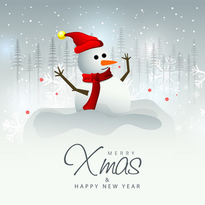 Glossy greeting card design with cute Snowman on fir trees decorated background for Merry Christmas and Happy New Year celebration.