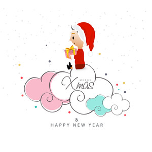 Cute little boy in Santa cap holding a gift and sitting on creative clouds for Merry Christmas and Happy New Year celebration.