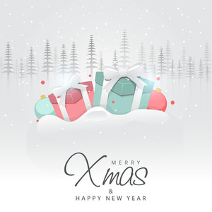 Merry Christmas celebrations and winter season concept with gift boxes and full of snow background.