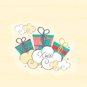 Colorful gifts and creative clouds decorated greeting card design for Merry Christmas celebration.
