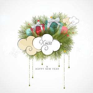 Greeting card design with colorful gifts on fir tree branches and creative clouds for Happy New Year and Merry Christmas celebration.
