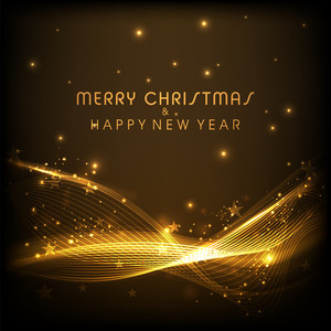 Shiny abstract waves and stars decorated elegant greeting card design for Merry Christmas and Happy New Year celebration.