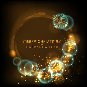 Shiny elegant greeting card design with snowflakes on brown background for Merry Christmas and Happy New Year celebration.