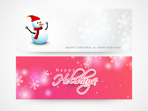 Website header or banner set with cute Snowman on snowflakes decorated background for Merry Christmas and Happy New Year celebration.