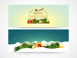 Glossy website header or banner set with colorful ornaments for Merry Christmas celebration.