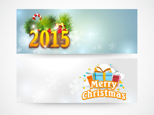 Glossy website header or banner set for Merry Christmas celebration.