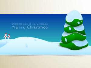 Christmas festival celebration with tree covered  by snow and stylish wishing text on blue background.