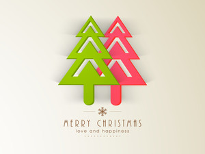 Christmas celebration with holly tree and stylish text of Merry Christmas