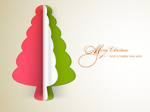 Christmas celebration with tricolour holly tree and stylish text of Merry Christmas and Happy New Year.