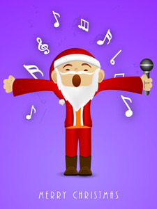 Kiddish Santa Claus holding mike in his hand and singing jingle with stylish text of Merry Christmas on blue background.
