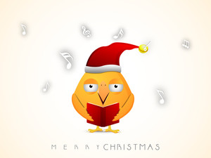 Chirstmas celebration with orange cartoon bird reading jingle and stylish text of Merry Christmas.