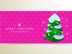 Christmas festival celebration with holly tree covered  by snow and stylish wishing text on pink background.