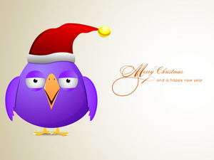 Chirstmas celebration with purple cartoon bird wearing Santa's cap  and stylish text of Merry Christmas and Happy New Year.