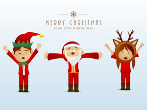 Three cartoon singing jingle with stylish text of Merry Christmas and Love and Happiness.