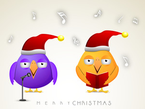 Chirstmas celebration with purple and orange cartoon bird reading jingle and stylish text of Merry Christmas.