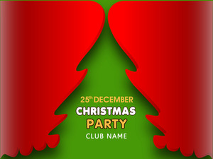 Stylish design of Christmas tree with party date and address bar.