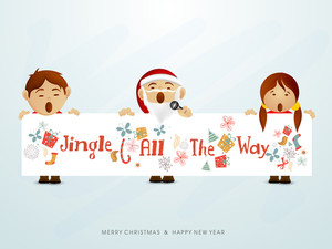 Three catoon singing jingle on stylish sky blue background with text Merry Christmas and Happy New Year.