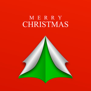 Paper art design of christmas tree with stylish text of Merry Christmas on red background.