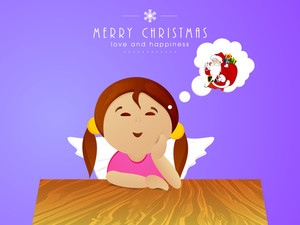 Cute cartoon girl thinking about Santa Claus with stylish text of Merry Chirstmas and Love and Happiness on blue background.
