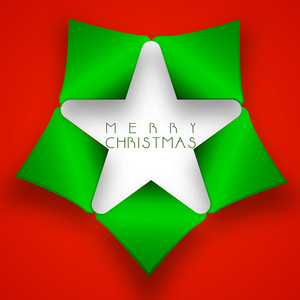 Shiny star with stylish text of Merry Chirstmas on bright red background.