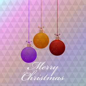Chirstmas Day celebration with colourful hanging balls and text of Merry Christmas on stylish background.