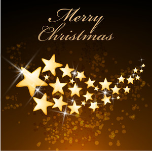 Merry Christmas celebration with shining star on stylish brown background.