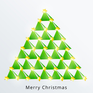 Stylish creative Xmas tree design with shiny stars for Merry Christmas celebration on stylish bakcground.