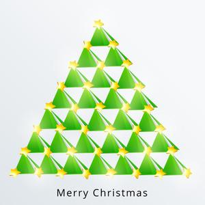 Stylish creative Xmas tree design with shiny stars for Merry Christmas celebration on stylish bakcground.