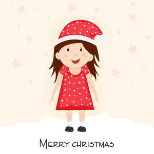Little cute girl in Santa hat for Merry Christmas celebration on stylish background.