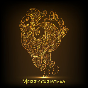 Merry Christmas celebration with shiny golden floral decorated Santa Claus holding a gift sack on brown background.