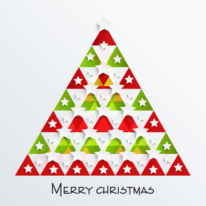 Stylish creative Xmas tree with stars for Merry Christmas celebration on stylish background.