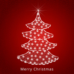 Celebration of Merry Christmas with stars decorated stylish Xmas tree on seamless red background.