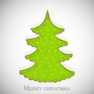 Merry Christmas celebration concept with Xmas tree on shiny grey background.
