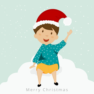 Little cute boy in Santa cap and dancing for Merry Christmas festival celebration on winter background.