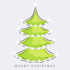 Merry Christmas celebration concept with stylish creative Xmas tree on grey background.