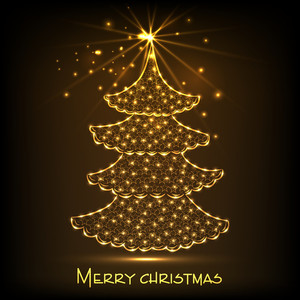 Shiny golden stars decorated Xmas tree for Merry Christmas celebration on brown background