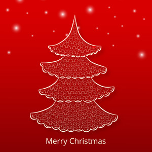 Merry Christmas celebration concept with x-mas tree decorated by stars on shiny red background