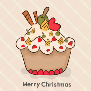 Merry Christmas celebration concept with cupcake on stylish pink background.